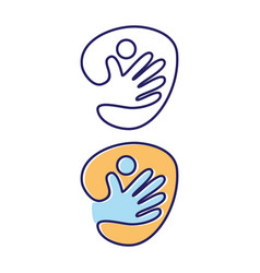 abstract hand people icon symbol on white vector image