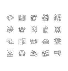 admin panel line icons signs set outline vector image