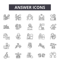 Answer line icons signs set outline vector