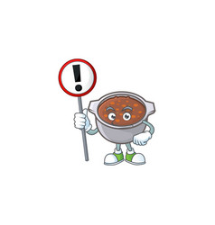 Baked beans in bowl with sign warning mascot vector