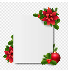 banner with red christmas poinsettia transparent vector image