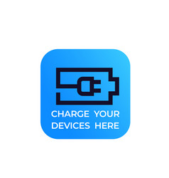 Battery and electric plug charge your devices vector