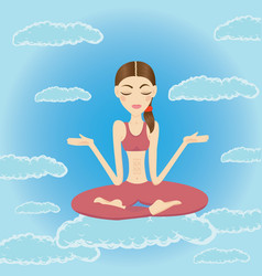 Beautiful young woman meditating and relaxing vector