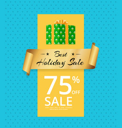best holiday sale 75 off present box gold label vector image