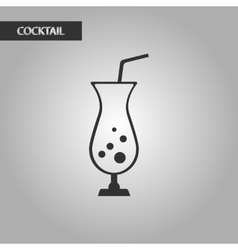 black and white style glass cocktail vector image