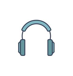 Blue headphones icon or logo element vector