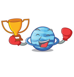 Boxing winner plenet uranus above the sky cartoon vector