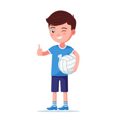 boy volleyball player stands right with ball vector image