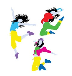 Break Dancer Action Silhouettes vector image