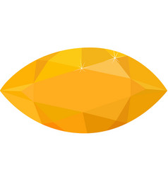 Bright yellow topaz isolated on white background vector