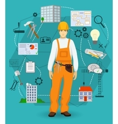 Builder man worker concept with flat icons vector