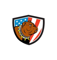 Bulldog Head USA Flag Crest Cartoon vector