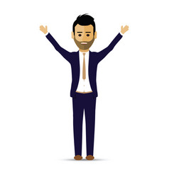 business man hands up greeting vector image