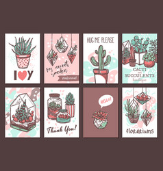 cactus and succulents hand drawn greeting cards vector image