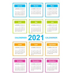 Calendar on 2021 year french color with square vector