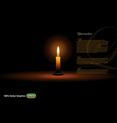 candle on dark background vector image