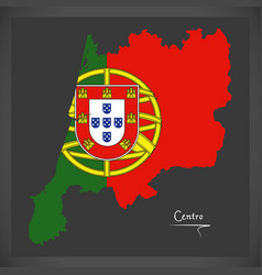 Centro portugal map with portuguese national flag vector