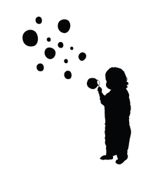 Child make bubble silhouette vector