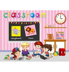 Children working in the classroom vector image