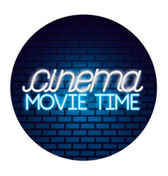 Cinema movie time neon vector