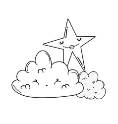 Clouds and stars cute cartoons in black and white vector