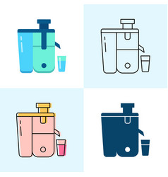 Cold-pressed juicer icon set in flat and line vector