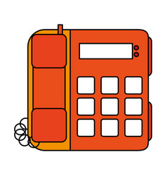 Color image silhouette office telephone with wired vector