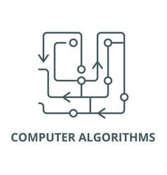 computer algorithms line icon computer vector image