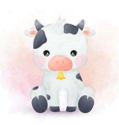 Cute little cow in watercolor vector