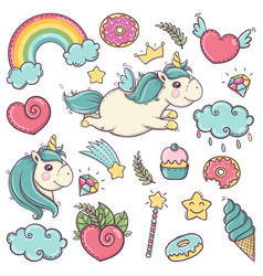 Cute soft unicorns set of wonderful magical vector