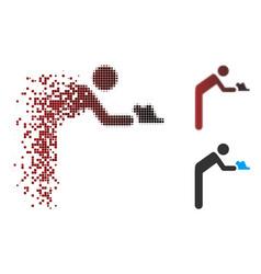 Dissolving pixel halftone servant person icon vector