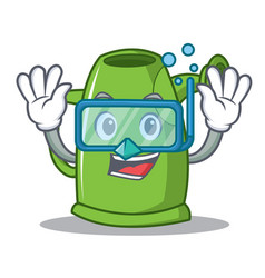 Diving watering can character cartoon vector