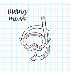 doodle style snorkeling equipment in format vector image