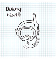 doodle style snorkeling equipment in format vector image