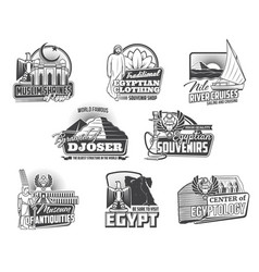 egyptian pyramids map gods ancient egypt icons vector image