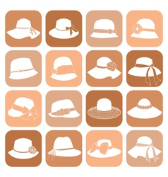 elegant hats icon set vector image