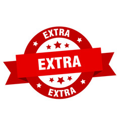 extra ribbon extra round red sign extra vector image