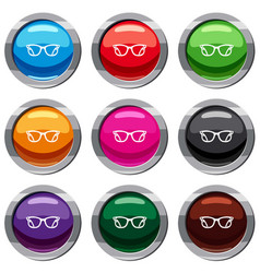 eyeglasses set 9 collection vector image