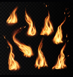 Fire flames burning realistic icons with sparks vector