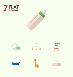 flat baby set of toy feeder napkin and other vector image