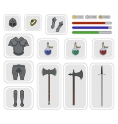 Game inventory Warrior knight set 2 vector