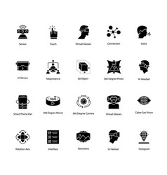 Glyph icons of virtual reality vector