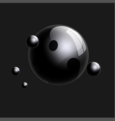 Group of realistic black glass balls 3d vector