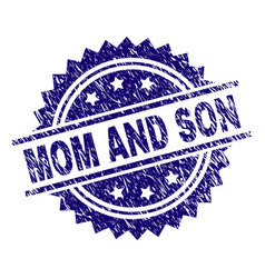Grunge textured mom and son stamp seal vector