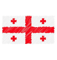 hand drawn national flag of georgia isolated on a vector image