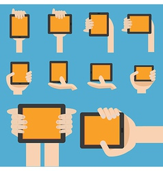 Hand hold mobile device in flat design vector