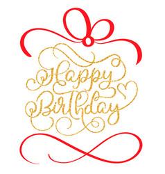 Happy birthday golden vintage hand lettering vector