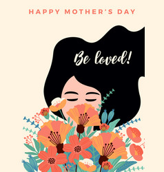 Happy mothers day with woman vector