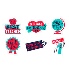 icons set for happy teachers day celebration vector image
