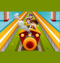 Kids riding a train vector